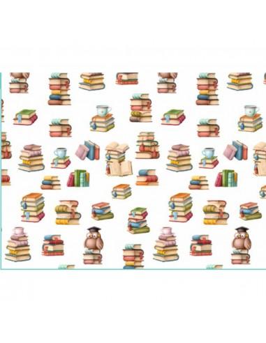 Tela algodon Estampado Libros  Comprar telas por metros - Telas Mercamoda