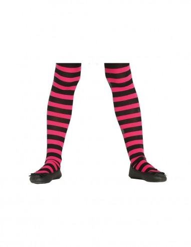 Panty infantil rayas fucsia/negras |Comprar telas online al mejor precio - Telas Mercamoda